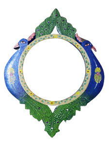 """Vintage Wooden Framed Mirror Hand Painting, Peacock & Carved Wall Mirror 16""""x12"""""""