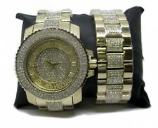 Uomo Iced Out Finto Diamante Hiphop Bling Orologio & Braccialetto Set-Gold Plated