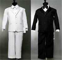 Gorgeous Black White boy tuxedo communion wedding party formal suit all sizes
