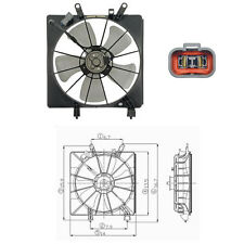 Cooling fan Assembly  (Radiator Fan) Fits: 2002 - 2005 Honda Civic L4 1.7L