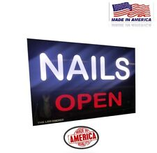 "Nails Sign Led Light Box Sign with Open sign 16''x24""x1 .75''"