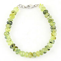 """175.00 Cts Natural 8"""" Inches Long Phrenite Untreated Round Shape Beads Bracelet"""