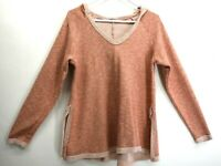 Loveriche Women's Small Long Sleeve V-Neck Hooded Sweatshirt/Hoodie Salmon
