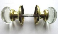Poignée de porte XIXème, 2 boules verre à opercule argenté, viroles laiton