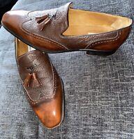 Moreschi Shoes Size 10.5 UK Mens Rare Crocodile Skin Leather Designer Brown Slip