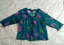 Blue pink green flower venezia jeans button blouse polyester v neck