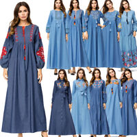 Muslim Women Embroidery Denim Long Maxi Dress Abaya Dubai Kaftan Robe Cocktail