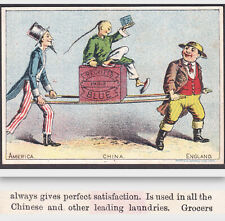 Uncle Sam Chinese Laundry Reckitts Paris Blue John Bull Advertising Trade Card