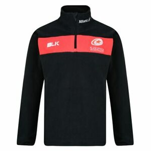 BLK saracens rugby adults 1/4 zip microfleece [black/red]