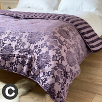 Luxury Embroidered Double King Size Bed End Throw Bedspread Purple French Floral