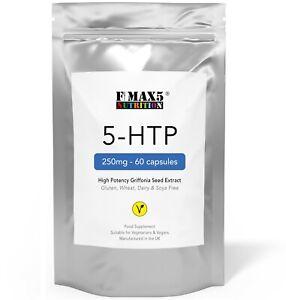 5HTP 250mg x 60 Capsules - Serotonin Stress Anxiety Depression Sleep Aid Support