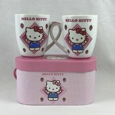 PPD Hello Kitty Plaid Mug Set 2 Porcelain 14 Ounces Sanrio