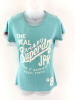 SUPERDRY Womens T Shirt Top XS Green Polyester Cotton & Viscose