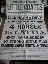Auction Poster of Stock and Implements. Littlecoates nr Grimsby, April 1928.