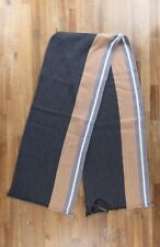 Z ZEGNA gray striped wool cotton mix scarf authentic - NWT