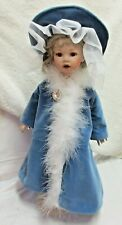 Blue Velveteen Coat & Hat for Slim Armed French Antique Porcelain Doll - Dh17