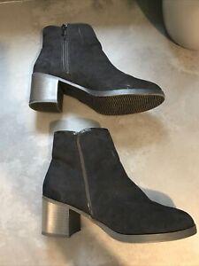 Bnwot Ladies Black New Look Zip Up Ankle Boots Size 6 / 39 Comfort Block Heel