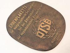SCHWERE BRONZE EHRENPLAKETTE DTSB COTTBUS LAUCHHAMMER GUSS UM 1970 37x32 cm