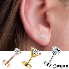 Delicate Stud Earrings Screw Flat  Surgical Steel Helix Cartilage Piercing Women