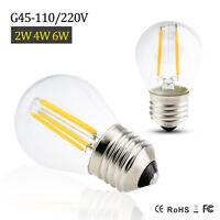 E27 G45 2/4/6W EDISON 220V 110V Retro Filament LED Bulb Candle Light Spot Lamp