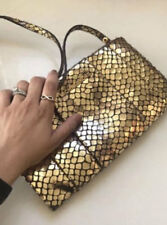 NEW Michael Kors Snake Embossed Daria Clutch Shoulder Bag Gold $228+