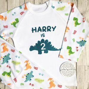 Personalised Second Birthday Boys Dinosaur Pyjamas I Am Two Pjs