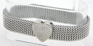 VTG .925 Sterling Silver Clear Cubic Zirconia Rhinestone Heart Metal Bracelet