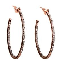 Swarovski Elements Crystal Open Oval Hoop Earrings Rose Gold Authentic New 7969v