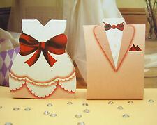 50 X Bride And Groom Wedding Bomboniere Boxes Dress/Tuxedo 25 + 25