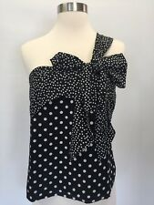 J Crew Silk one-shoulder bow top in polka dot Black ivory 12 blouse G7678 $78