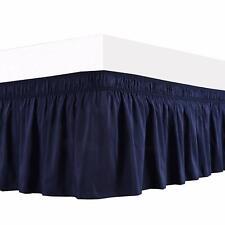 *Navy Blue - Wrap Around Bed Skirt Three Side Elastic Ruffle 100% Cotton 1000 TC