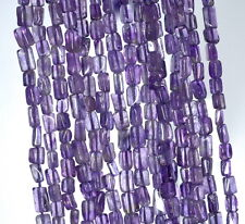 4X3-7X4MM ROYAL AMETHYST GEMSTONE PURPLE RECTANGLE TUBE LOOSE BEADS 14""