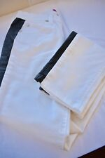 AQUA WHITE COTTON/BLACK LEATHER TRIM GIRLS LONG SKINNY PANTS SIZE 14 ON SALE