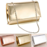 Small Minimalist Glossy Metallic Clutch Bag Evening Bags Carry Purse Cross Body