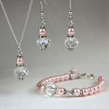 Pink vintage crystal pearl necklace bracelet earrings wedding bridesmaid set