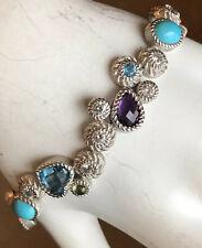 "Judith Ripka Sterling Silver Turquoise Multi-Gem Dew Drop Bracelet 6 3/4"""