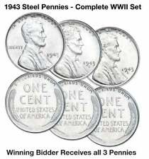 1943 PDS UNCIRCULATED LINCOLN WHEAT STEEL CENT PENNY COLLECTION WW2 LOT