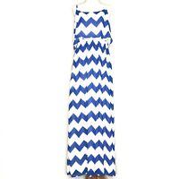 Takara Womens Dress Size XL Maxi Chevron Blue White Spaghetti Keyhole Lined
