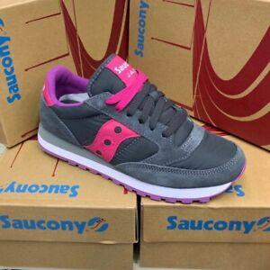 scarpe Saucony Jazz donna sneakers Grigio scuro camsocio fucsia rosa viola