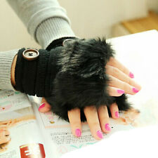 Gift Women Warm Winter Gloves Faux Rabbit Fur Wrist Fingerless Gloves Mittens