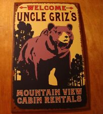 UNCLE GRIZZLY MOUNTAIN VIEW CABIN RENTALS Log Home Wall Decor Rustic Bear Sign