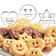 4Pcs Smiling Face Cookies Cutter Pastry Biscuit Cake Decorating Mold Form Baking