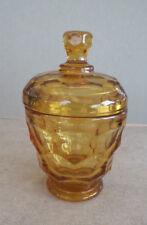 "VINTAGE AMBER GOLD HONEYCOMB GLASS CANDY JAR W/LID  5 1/2"""