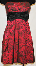 CHIC Red Black Mini Strapless Empire Bow Tie Formal Prom Cocktail Party Dress 7