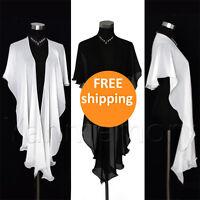 White/Black Chiffon Long Wrap Shawl Waves Wedding Clothing Bridal Accessories