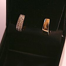 14kt YELLOW GOLD DIAMOND PAVE HOOP EARRINGS - Stunning!