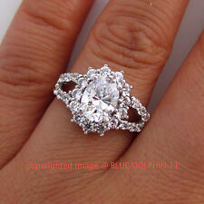 Genuine Solid 9ct White Gold Engagement Wedding Esteem Rings Simulated Diamonds
