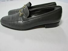 Men's Gray Charlie Brown Handmade Calf Skin Loafers 9.5 US 42.5 Made in Italy