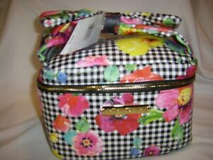 Betsey Johnson Bow Top Train Case Bag Mirror Travel Makeup Cosmetics Weekend NEW