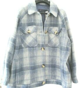 COAT JACKET M&S BNWT SIZE 20 WINTER BLUE LADIES IDEAL GIFT SHACKET CASUAL WOOL